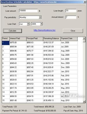 Amortization Schedule Calculator Screenshot 2