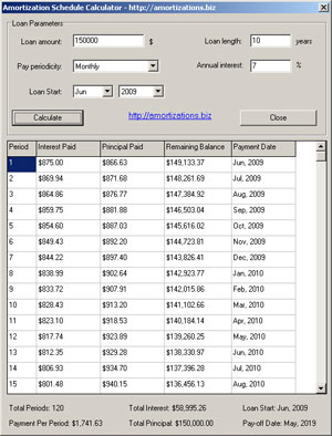 Amortization Schedule Calculator Screenshot