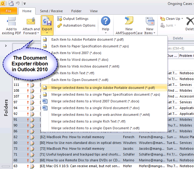 PDF/XPS Document Exporter for Outlook Screenshot