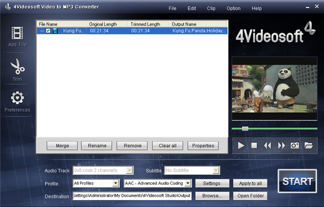 4Videosoft Video to MP3 Converter Screenshot 1