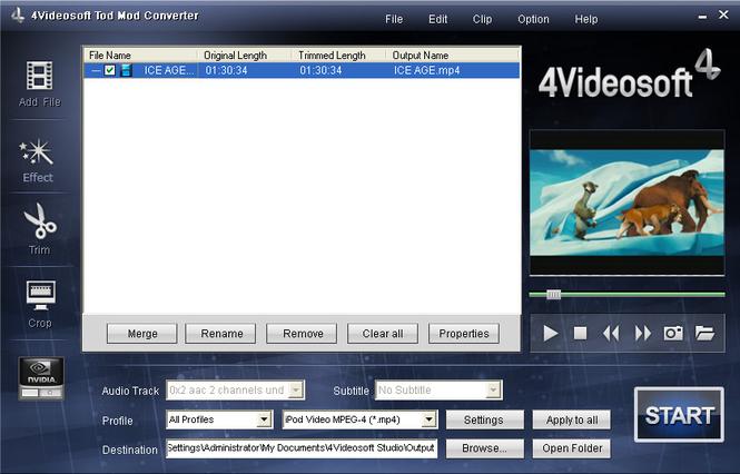 4Videosoft Tod Mod Converter Screenshot