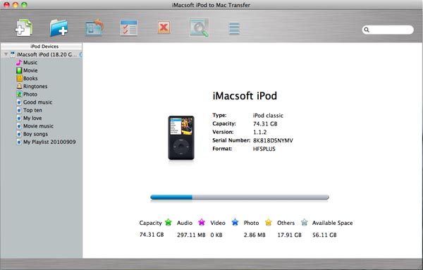 iMacsoft iPod to Mac Transfer Screenshot 1