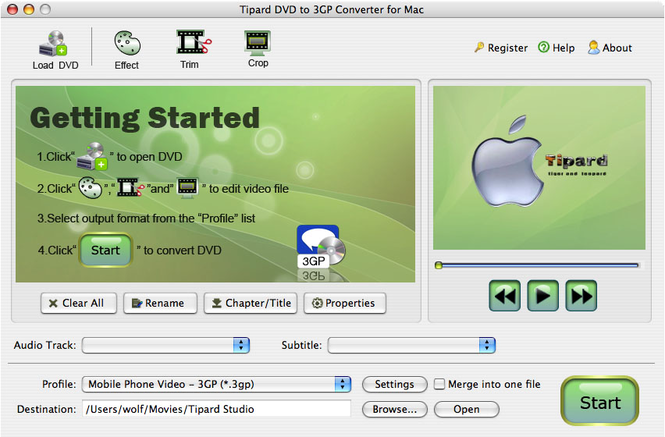 Tipard DVD to 3GP Converter for Mac Screenshot 3