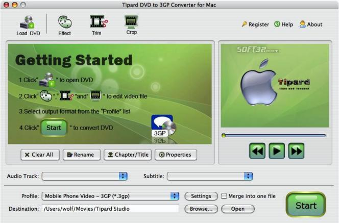 Tipard DVD to 3GP Converter for Mac Screenshot 2