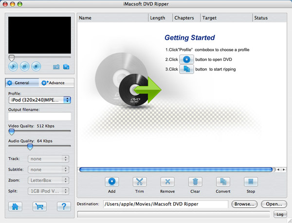 iMacsoft DVD Ripper for Mac Screenshot