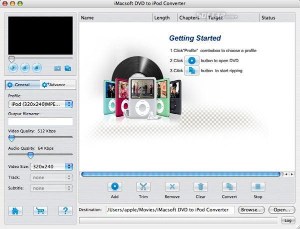 iMacsoft DVD to iPod Converter for Mac Screenshot 2