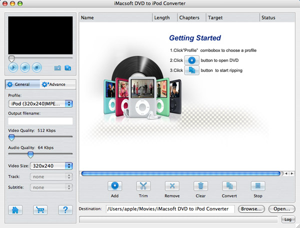 iMacsoft DVD to iPod Converter for Mac Screenshot