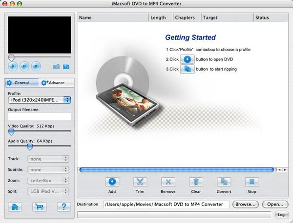iMacsoft DVD to MP4 Converter for Mac Screenshot