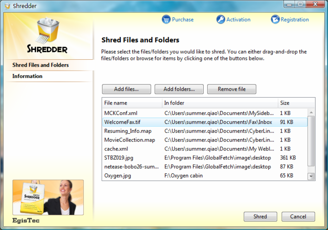EgisTec Shredder Screenshot