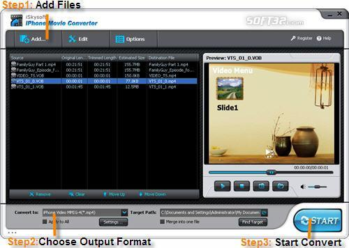iSkysoft iPhone Movie Converter Screenshot 2