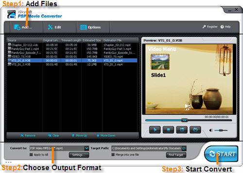 iSkysoft PSP Movie Converter Screenshot 1