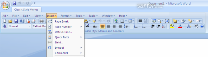 Classic Style Menus for Office 2007 Screenshot 2