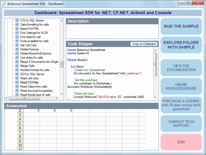 Bytescout Spreadsheet SDK Screenshot