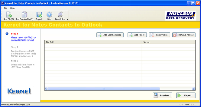 Notes Contacts to Outlook Screenshot