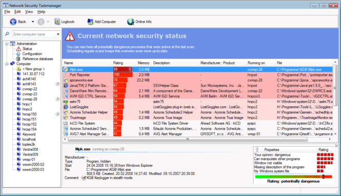 Network Security Task Manager Screenshot