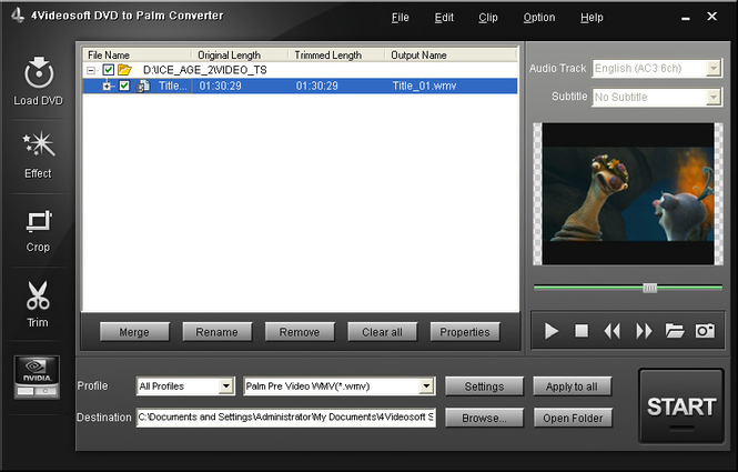 4Videosoft DVD to Palm Converter Screenshot
