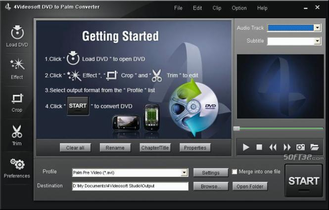 4Videosoft DVD to Palm Converter Screenshot 3