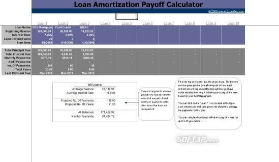 Loan Amortization Payoff Calculator Screenshot