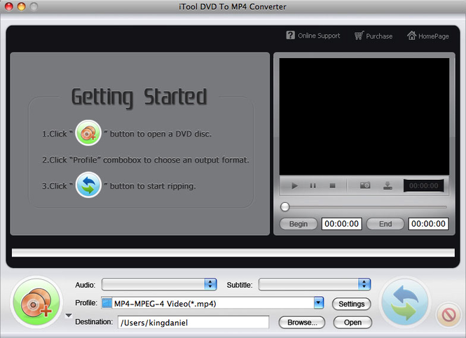iTool DVD to MP4 Converter for MAC Screenshot 1