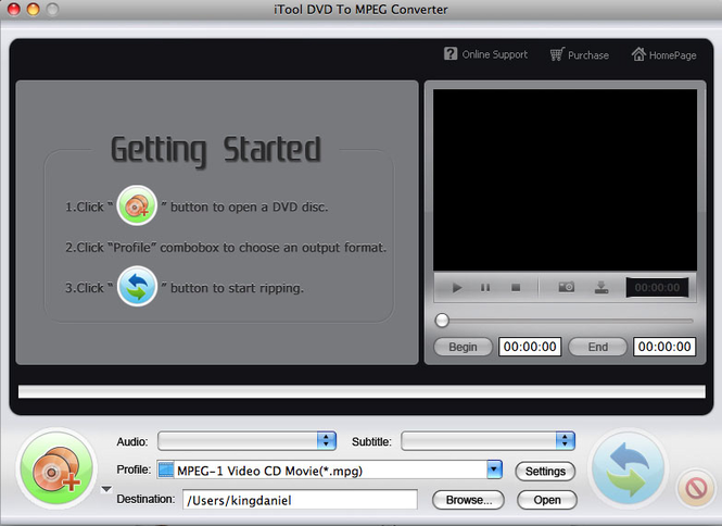 iTool DVD to MPEG Converter for MAC Screenshot