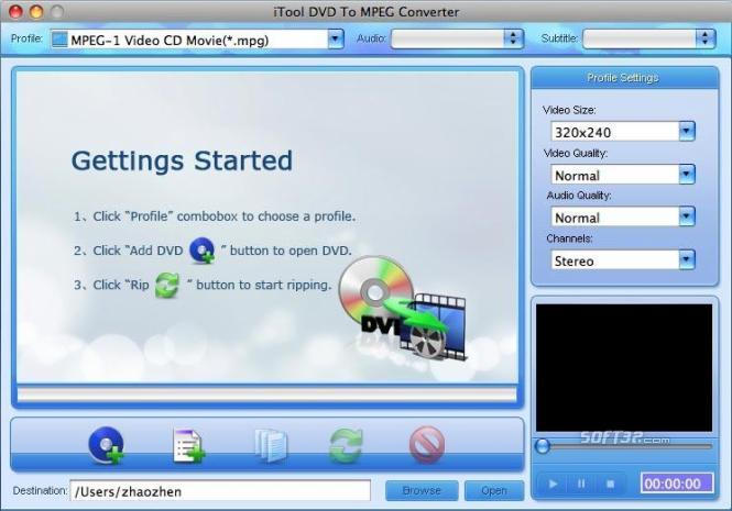 iTool DVD to MPEG Converter for MAC Screenshot 3