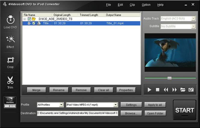 4Videosoft DVD to iPod Converter Screenshot 2