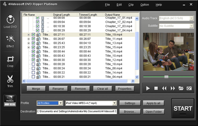 4Videosoft DVD Ripper Platinum Screenshot 3
