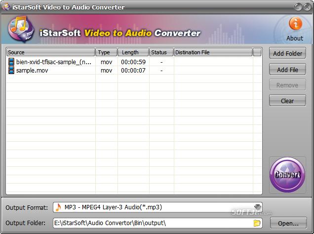 iStarSoft Video to Audio Converter Screenshot 2