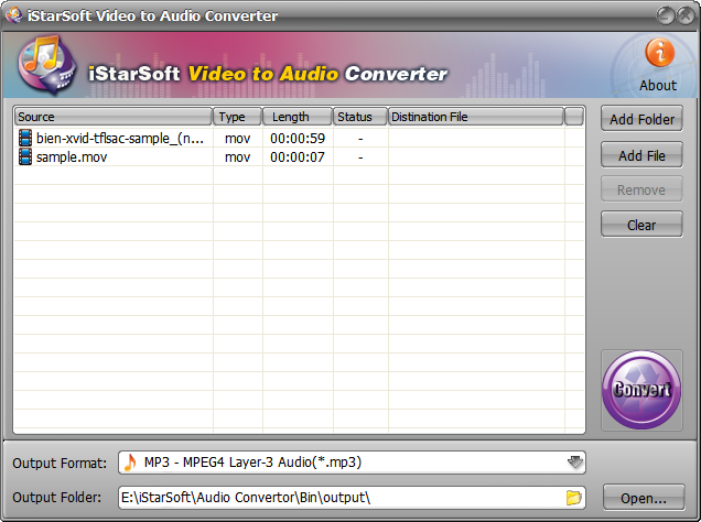 iStarSoft Video to Audio Converter Screenshot