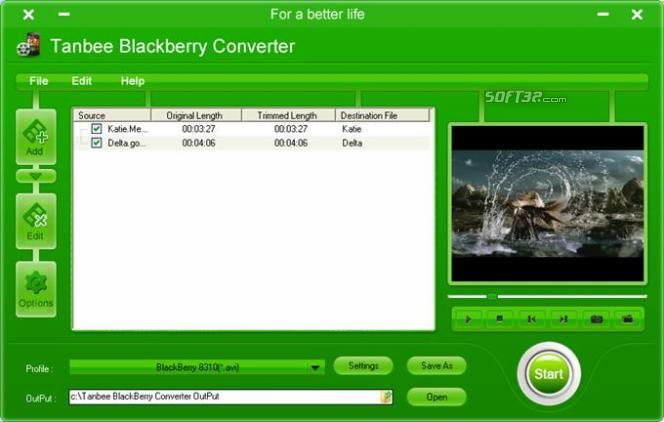 Tanbee BlackBerry Video Converter Screenshot