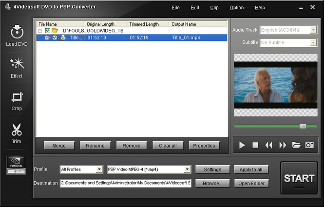 4Videosoft DVD to PSP Converter Screenshot