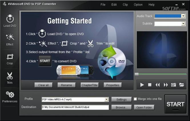 4Videosoft DVD to PSP Converter Screenshot 2