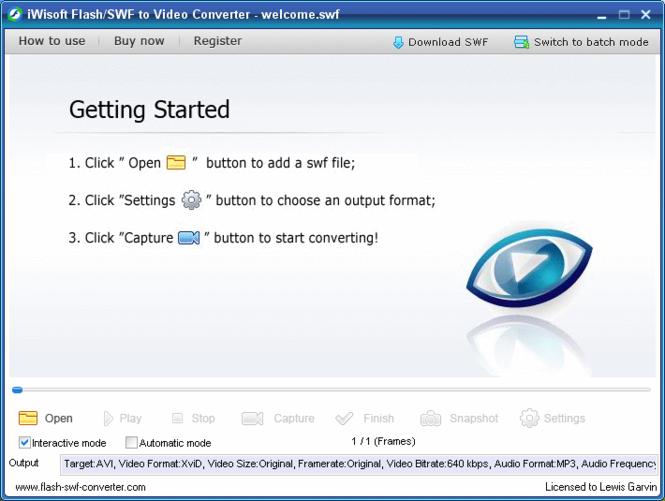 iWisoft Flash SWF to Video Converter Screenshot 1