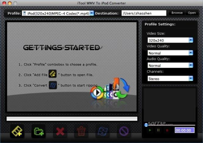 iTool WMV to iPod Converter for MAC Screenshot 2