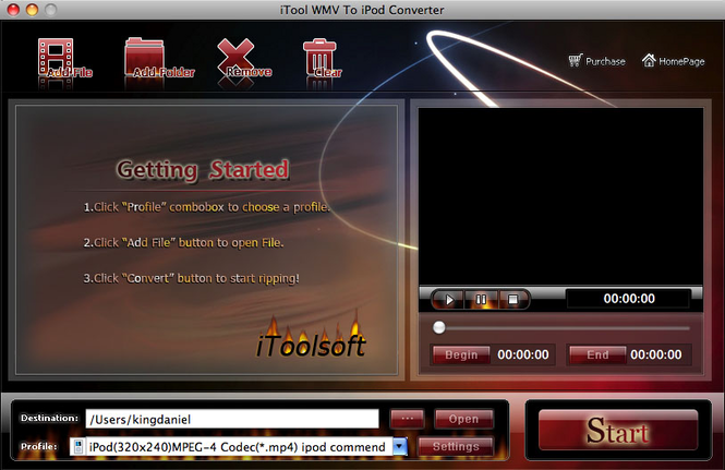 iTool WMV to iPod Converter for MAC Screenshot 1