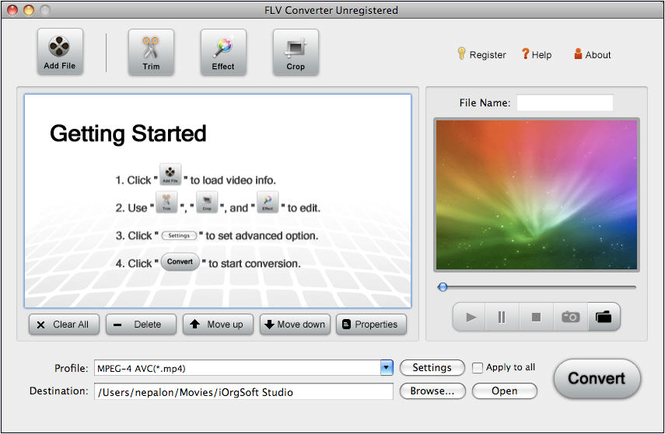 FLV Converter for Mac Screenshot