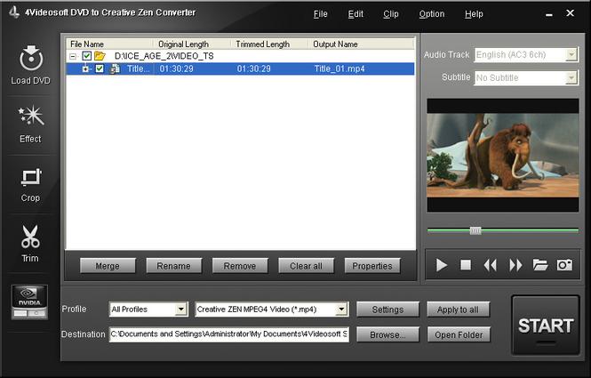 4Videosoft DVD to Creative Zen Converter Screenshot