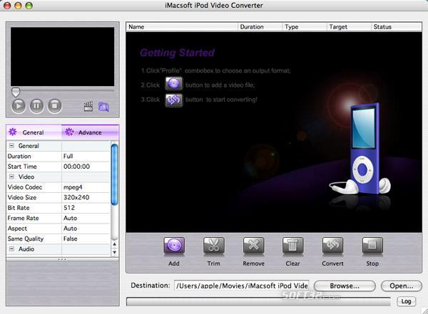 iMacsoft iPod Video Converter for Mac Screenshot 2