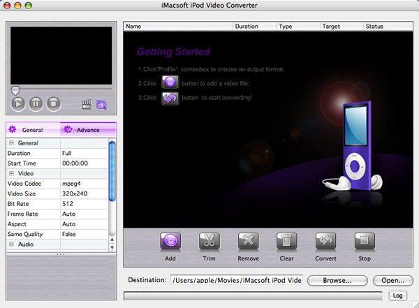 iMacsoft iPod Video Converter for Mac Screenshot 1
