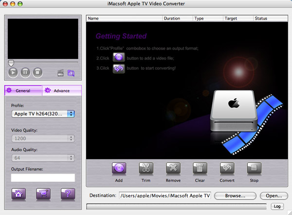 iMacsoft Apple TV Video Converter for Mac Screenshot