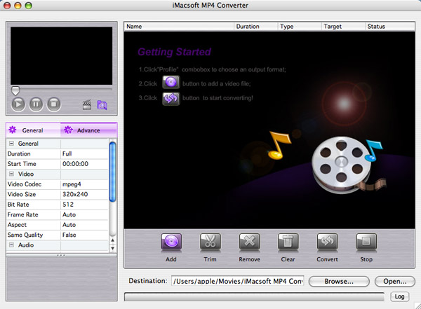 iMacsoft MP4 Converter for Mac Screenshot