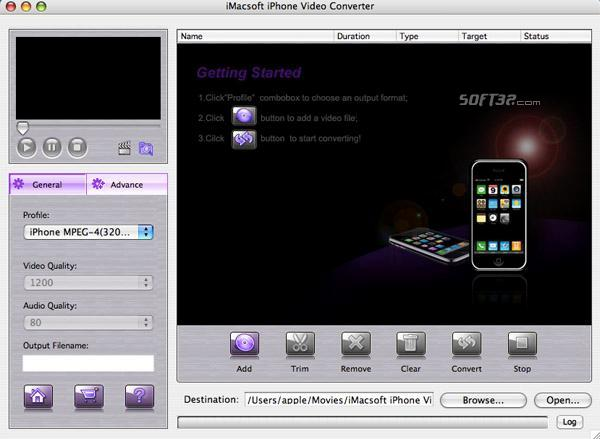 iMacsoft iPhone Video Converter for Mac Screenshot 2