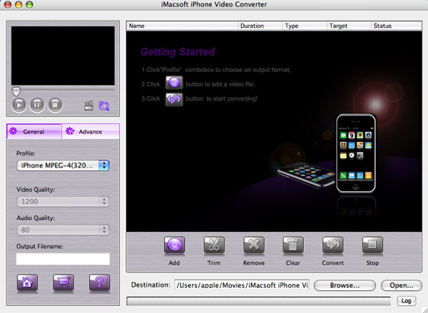 iMacsoft iPhone Video Converter for Mac Screenshot