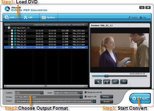 iSkysoft DVD to PSP Converter Screenshot 2
