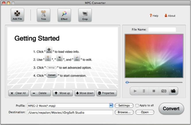 MPG Converter for Mac Screenshot
