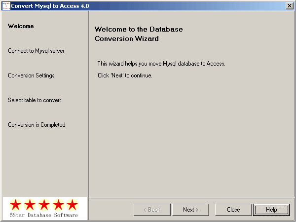 Convert Mysql to Access Screenshot