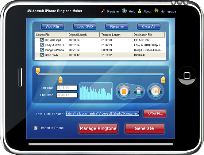 4Videosoft iPhone Ringtone Maker Screenshot