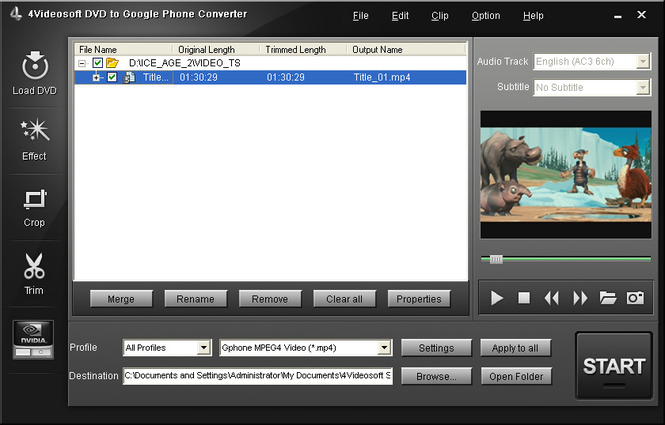 4Videosoft DVD to Google Phone Converter Screenshot