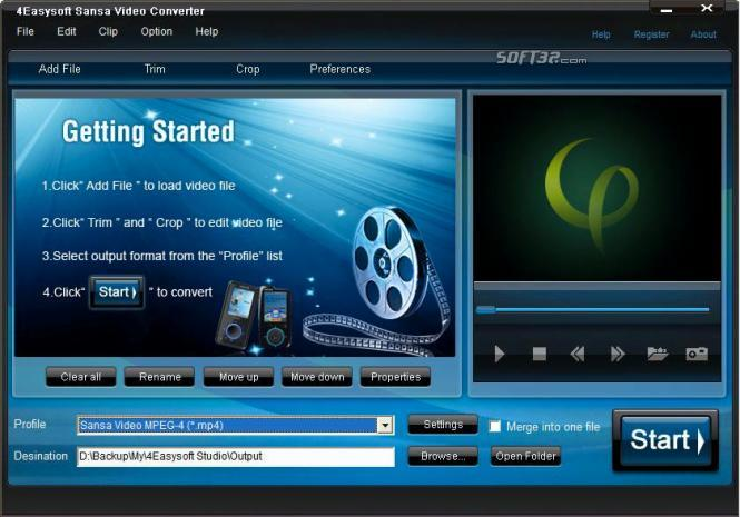 4Easysoft Sansa Video Converter Screenshot 3