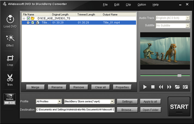 4Videosoft DVD to BlackBerry Converter Screenshot